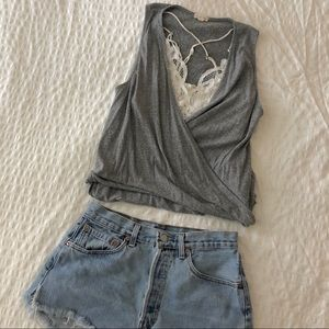 Gray twisted tank top